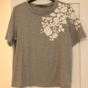 Anthropologie Grey Floral T-shirt